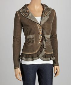 Take a look at this Brown Ruffle Blazer by delfine on #zulily today!