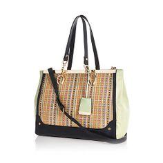 Light green woven panel metal trim tote bag - shopper / tote bags - bags / purses - women