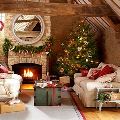 Create a feel-good festive home!    Choose a bold natural tree    Choose a big and bold natural tree and cover it with gorgeous fabric doves, hearts and stars finished with pretty blanket stitch. Make friends and family comfortable by dressing sofas and armchairs with nordic-style felt cushions in cheery Christmas colours.