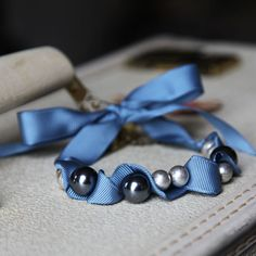 Ribbons and Pearls #bracelet #necklace #jewelry #blue #ribbon #pearls #DIY #crafts