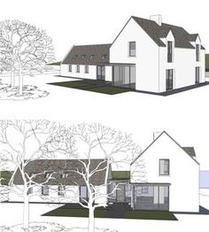 The extension and renovation of the Clients' family cottage in rural Cork. Modern Barn, Modern Farmhouse, House Designs Ireland, Cottage Extension, Great Buildings And Structures, Modern Buildings, Rural House, Cottage Renovation, Modern Bungalow