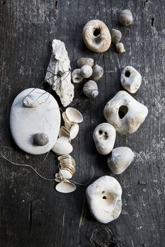 By Nicole Franzen, love this collection of pebbles and shells. Hag Stones, Nature Collection, Rock Collection, Sea Witch, Photocollage, Sticks And Stones, Wabi Sabi, Rock Art, Sea Shells
