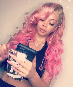 pink human hair wigs hair, fast ship from China✈️✈️ e-mail jennytang Whatsapp 18765423795 Black Girls Hairstyles, Pretty Hairstyles, American Hairstyles, Curly Hair Styles, Natural Hair Styles, Wig Styles, Hair Laid, Hair Hacks, Hair Tips