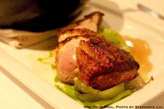 Raspado de Pato: Hudson Valley Duck Breast served with Duck Confit, Crispy Rice, Edamame, Raisins, Pine Nuts with Chayote and Tomatillo Salad at Ola