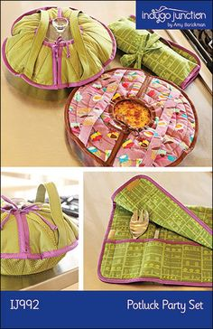 Potluck Party Set PDF sewing epattern – round casserole/pie carrier with roll-up serving set holder Easy Sewing Projects, Sewing Hacks, Sewing Crafts, Patchwork Quilting, Pie Carrier, Casserole Carrier, Party Set, Sewing Lessons, Creation Couture
