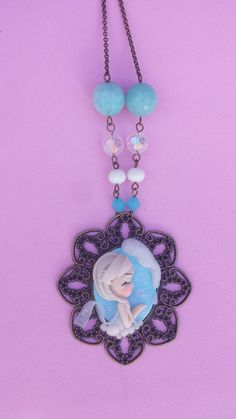 Cameo Elsa polymer clay necklace fimo by Artmary2 on Etsy, €16.00