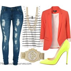 """""""Orange & Lime"""" by adoremycurves on Polyvore"""