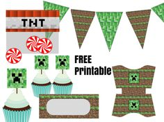 free minecraft party printable, food labels, cupcake toppers