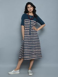 Indigo Cotton Ajrakh Stripes Tunic