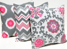 Cailins room? Decorative Throw Pillow Covers Accent Pillows Cushion Covers 18 x 18 Inches Berry Pink and Gray TRIO Premier Prints Rosa Suzani. $54.00, via Etsy.