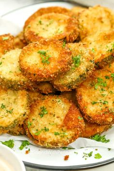 Fried zucchini is an easy and fun way to enjoy your garden zucchini. It is sliced, coated in bread crumbs with cheese, and fried until golden and crispy. You can make these in the air fryer, deep fryer, or even baked in the oven. Fried Zuccini, Deep Fried Zucchini, Fried Zucchini Sticks, Fried Zucchini Recipes, Roast Zucchini, Grilled Zucchini, Breaded Zucchini, Zucchini Slice, Potato Recipes
