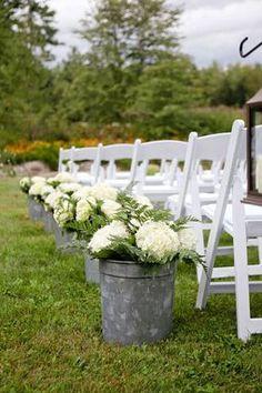 rustic outdoor wedding decor   Rustic ivory hydrangea aisle decor for outdoor wedding - ...   Weddin ...