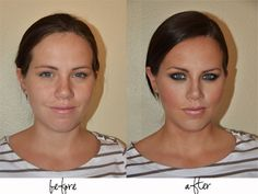 Makeup tips! She doesn't even look like the same girl! (This site has lots of other great tips from basic to advanced)