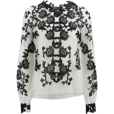 Oscar De La Renta Floral Blouse ($1,195) ❤ liked on Polyvore featuring tops, blouses, shirts, lace shirt, black and white floral shirt, lace blouse, lace top and lace cami