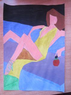 Este dibujo trata de buscar la abstracción de las fotografías. Yo escogí una fotografía de una revista y la transformé en un dibujo abstracto, pintado con acuarelas.