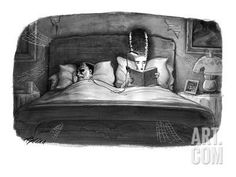 The bride of Frankenstein reading a book in bed with a book light plugged … - New Yorker Cartoon Premium Giclee Print by Harry Bliss at Art.com