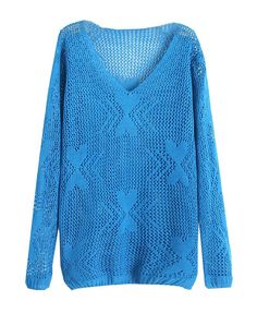 V Neckline Hollow Out Pullover with Heart and Arrow