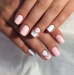 Pink and White Chevron Nails
