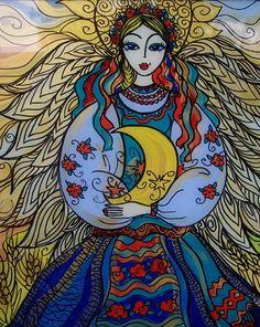 Ukrainian Guardian Angel- Reverse painting on glass. Faux Stained Glass, Ukrainian Art, China Art, China Painting, Art For Art Sake, Teaching Art, Art Techniques, Folk Art, Art Projects