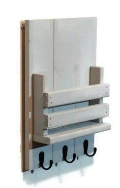 Sydney Mail Organizer and Key Rack with Slotted Bin - Painted Version - Renewed Decor & Storage