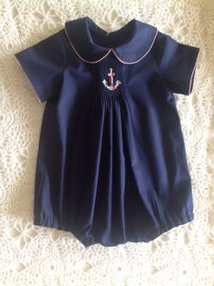 Darling smocked anchor on navy blue with contrast piping - suggest Collars ETC… Little Boy Outfits, Baby Boy Outfits, Kids Outfits, Baby Sewing, Sewing For Kids, Smocking Patterns, Smocking Plates, Smocking Baby, Smocked Baby Clothes