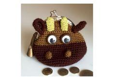 crochet coin purses-cow