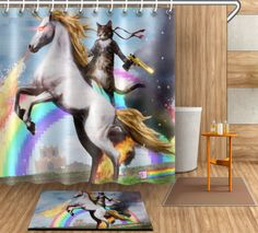 72-79-034-Cat-Riding-Horse-Bathroom-Fabric-Shower-curtain-Flannel-Mat-12hook-4089