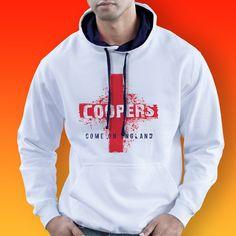 Contrast Hoodie in Navy and White featuring our England Flag Coopers Bar design. #coopersbar