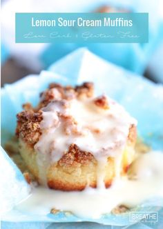 Keto Lemon Sour Cream Muffins with Lemon Glaze - low carb and gluten free!