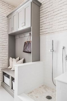 White and gray dog friendly mudroom