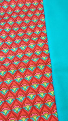 Red & Turquoise repeating pattern w/ Turquoise solid.
