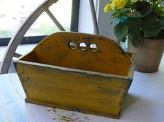 Primitive Cutlery Tray in Mustard by alexandra rosie. Wooden Cutlery Tray, Cutlery Trays, Prim Decor, Primitive Decor, Wall Boxes, Traditional Rugs, Solid Pine, Making Out, Mustard