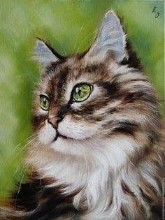 Купить Мурочка - ярко-зелёный, картина маслом, картина с животными, котик, картина в детскую