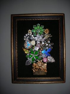 Vintage Jewelry Christmas Tree Art Framed, Floral Bouquet