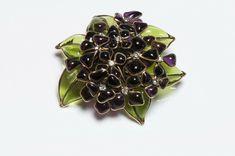 CHANEL Paris 1950's Maison Gripoix Purple Green Glass Violets Flower Brooch | eBay