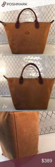 🎁LONGCHAMP LARGE LEATHER BAG 💯AUTHENTIC LONGCHAMP LARGE LEATHER HANDLE BAG 100% AUTHENTIC. TRUE SUPER HIGH END LUXURY AND STYLE! JUST LOVELY! PURCHASED AT THE PARIS LONGCHAMP BOUTIQUE. VERY RARE BAG! THE COLOR IS A BEAUTIFUL GOLDEN TAN . IT HAS A ZIP TOP CLOSURE AND IN INTERIOR ZIP WALL POCKET. THE LEATHER IS SOFT ALMOST SUEDE GRAIN FEELING. THE BAG MEASURES 15.5 INCHES WIDE BY 10 INCHES TALL. SOME SMUDGING. SUCH A PRETTY BAG! Longchamp Bags Satchels