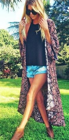 #spring #outfits  Floral Kimono + Black Tank + Ripped Denim Short