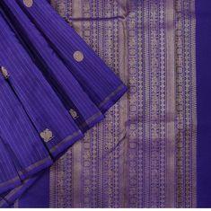 Gold zari stripes with peacocks and rudraksha motifs. This is a perfect blend of vibrance and elegance 💙 . Sari Dress, Saree Blouse, Saris, Silk Sarees, Elegant Designs, Kanchipuram Saree, Saree Wedding, Indian Ethnic, Peacocks