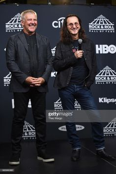 Geddy Lee and Alex Lifeson at the Rock and Roll Hall of Fame. April 7th, 2017