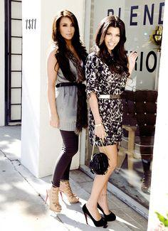 Kim & Kourtney. Love Kim's outfit.