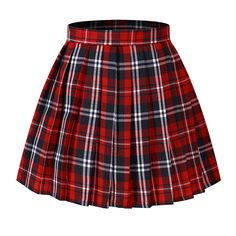 Plaid skirts for tennis plaid skirt women`s japan school a-line kilt plaid pleated summer skirts blue ) NRANFOM Red Skirts, Cute Skirts, Plaid Skirts, Summer Skirts, Red A Line Skirt, Plaid Pleated Skirt, Edgy Outfits, Mode Outfits, Fashion Outfits