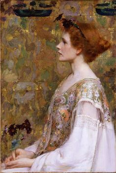"""1894 ~ """"Woman with Red Hair"""" by Albert Herter (1871-1950), American Painter ...."""