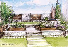 Projekt nowoczesnego ogrodu przydomowego.
