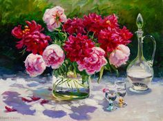 """""""Peonies in Dazzling Light"""" 30"""" x 40"""" Evgeny & Lydia Baranov Oil on Canvas"""