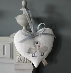 If you are looking for a truly special gift, this heart is ideal.This lavender heart is made from white Scottish linen printed with two swans in love. This is an original hand drawn design fro. Swan Love, Cosy Corner, Hanging Hearts, Handmade Design, Soft Furnishings, Special Gifts, How To Draw Hands, Swans, Pottery