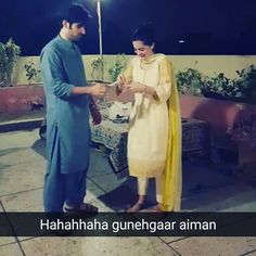 Hahahaha.....@aimankhan.official @aimankhan.official @muneeb_butt @muneeb_butt  Guys please tag them in this pic....please... #aimankhan#muneebbutt#cuties#jaans#together #forever#masti#hahahaha