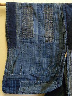 A 19th Century Boro Work Coat  This pattern is called sankuzushi,