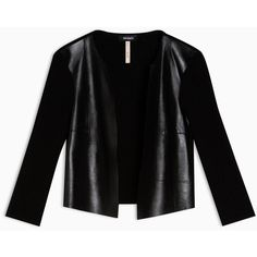 Max&Co. Boxy leather and knit jacket (13.045 RUB) ❤ liked on Polyvore featuring outerwear, jackets, black, genuine leather jackets, knit jacket, 3/4 sleeve jacket, boxy jacket and straight jacket