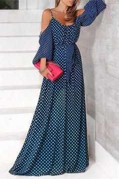 Sexy Off Shoulder Wave Point Maxi Dress Elegant Summer Dresses, Spring Dresses, Beautiful Dresses, Casual Dresses, Polka Dot Maxi Dresses, Cute Maxi Dress, Boho Dress, Modest Fashion, Fashion Dresses