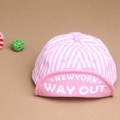 Baby Girls Boys Striped Casquette Baseball Hat. (New York Way Out)